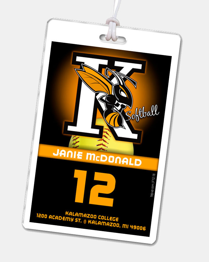 custom laminate rectangle bag tag sports team softball customizable name number title address images
