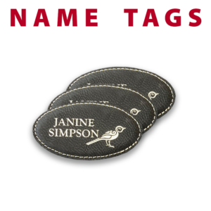 leather name tags engraving