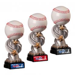 baseball top customizable personization individualization stand alone trophy award logo branding sport name number achievement tournment mememto