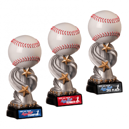 baseball top customizable personization individualization stand alone trophy award logo branding sport name number achievement tournment mememto