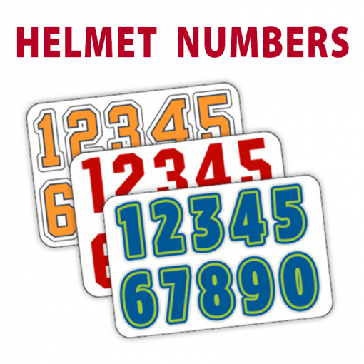 sports helment numbers decal stickers sheets