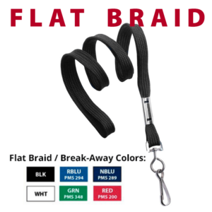 bag tag accessories flat braid lanyards colors black royal blue navy blue white green red