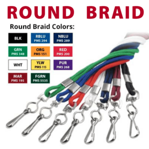 bag tag accessories round braid lanyard choice in colors black royal blue navy green orange red white yellow purple maroon forest green