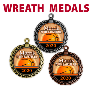 wreath medals gold silver bronze customizable personization individualize dates place team sport images