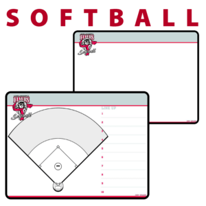 softball field line up standard traditional customization personization Sideline Dry-Erase Board double sided team logo colors branding