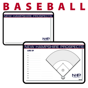 baseball field writing note area whiteboard hand held line up customization personization Sideline Dry-Erase Board double sided team logo colors branding