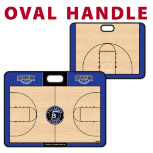 basketball full half court oval handle traditional standard customization personization Sideline Dry-Erase Board double sided team logo colors branding