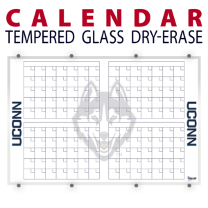 calendar four month tempered glass wall mount dry-erase board whiteboard customizable personizable individualizable branding logo team sport size information