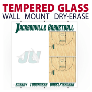 basketball half court writing note area tempered glass wall mount dry-erase board whiteboard customizable personizable individualizable branding logo team sport size information