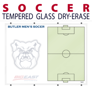 soccer field writing note area tempered glass wall mount dry-erase board whiteboard customizable personizable individualizable branding logo team sport size information