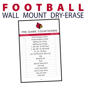 football countdown time clock wall mount dry-erase board whiteboard customizable personizable individualizable branding logo team sport size information