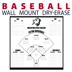 baseball field line up writing note area wall mount dry-erase board whiteboard customizable personizable individualizable branding logo team sport size information