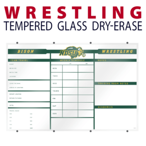 wrestling schedule travel weight notes writing area tempered glass wall mount dry-erase board whiteboard customizable personizable individualizable branding logo team sport size information