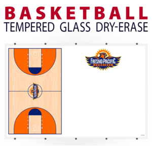 basketball full court writing note area tempered glass wall mount dry-erase board whiteboard customizable personizable individualizable branding logo team sport size information