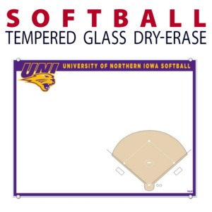 softball field writing note area tempered glass wall mount dry-erase board whiteboard customizable personizable individualizable branding logo team sport size information