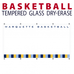 basketball writing note area tempered glass wall mount dry-erase board whiteboard customizable personizable individualizable branding logo team sport size
