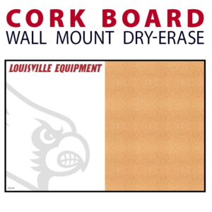 athletic department equipment management half cork board half note writing area wall mount dry-erase board whiteboard customizable personizable individualizable branding logo team sport size