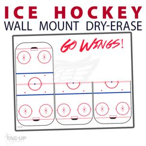 ice hockey full half rink wall mount dry-erase board whiteboard customizable personizable individualizable branding logo team sport size information