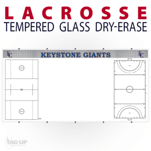 lacrosse field writing note area tempered glass wall mount dry-erase board whiteboard customizable personizable individualizable branding logo team sport size
