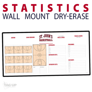 basketball statistics half full court notes writing area wall mount dry-erase board whiteboard customizable personizable individualizable branding logo team sport size