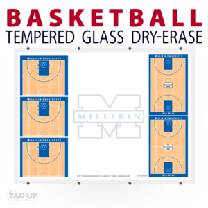 basketball full half multiple court tempered glass wall mount dry-erase board whiteboard customizable personizable individualizable branding logo team sport size information