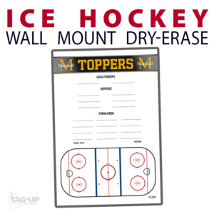 ice hockey rink line up goaltenders defense forwards wall mount dry-erase board whiteboard customizable personizable individualizable branding logo team sport size information