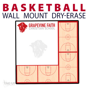basketball multple half full court writing note area tempered glass wall mount dry-erase board whiteboard customizable personizable individualizable branding logo team sport size information