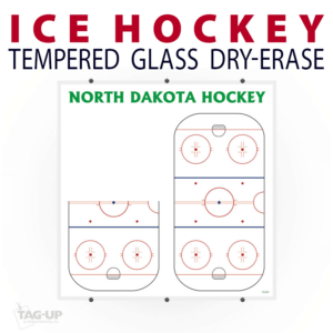 ice hockey rink half full writing note area tempered glass wall mount dry-erase board whiteboard customizable personizable individualizable branding logo team sport size information