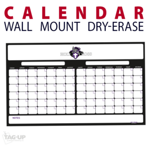 calendar two double note area dry-erase board whiteboard customizable personizable individualizable branding logo team sport size information wall mount