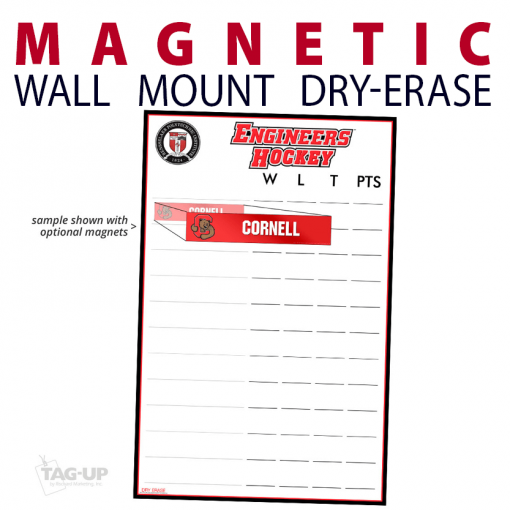 magnetic wall mount dry-erase board whiteboard customizable personizable individualizable branding logo team sport size information ice hockey standings