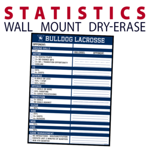 lacrosse statistic dry-erase board whiteboard customizable personizable individualizable branding logo team sport size information wall mount