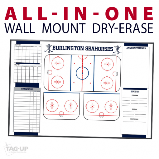 all in one calendar standings ice hockey rink notes writing area announcements line up wall mount dry-erase board whiteboard customizable personizable individualizable branding logo team sport size information