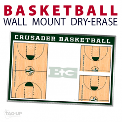 basketball full half writing note area wall mount dry-erase board whiteboard customizable personizable individualizable branding logo team sport size information