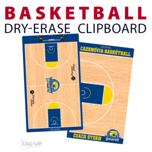 basketball half full double sided dry-erase clipboard customized personalize team sport colors logo