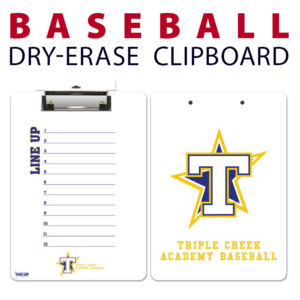 baseball line up double sided dry-erase clipboard customized personalize team sport colors logo