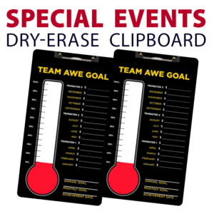 special events fundraisers goals double sided dry-erase clipboard customized personalize team sport colors logo
