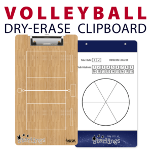 volleyball court rotation locator circle substitutions time outs double sided dry-erase clipboard customized personalize team sport colors logo