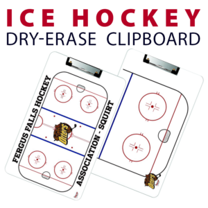 ice hockey half full rink double sided dry-erase clipboard customized personalize team sport colors logo