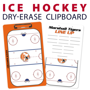 ice hockey rink line up double sided dry-erase clipboard customized personalize team sport colors logo