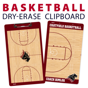 basketball court dry-erase clipboard customized personalize team sport colors logo