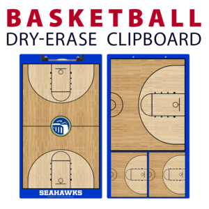 basketball muli half full court double sided dry-erase clipboard customized personalize team sport colors logo