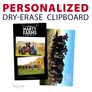 small company family photographs business farm memento double sided dry-erase clipboard customized personalize team sport colors logo