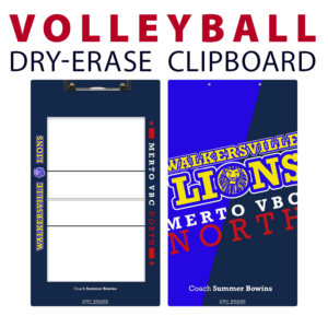volleyball double sided dry-erase clipboard customized personalize team sport colors logo