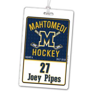 ice hockey generic background laminate rectangle sport bag tags luggage badges customized personalized number name