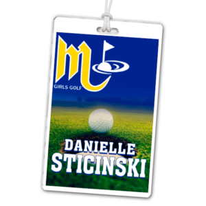 golf course field ball hole laminate rectangle sport bag tags luggage badges customized personalized number name