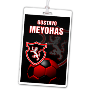 soccer laminate rectangle sport bag tags luggage badges customized personalized number name branding