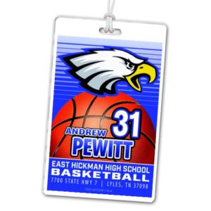 basketball illustrated high quality laminate rectangle sport bag tags luggage badges customized personalized number name