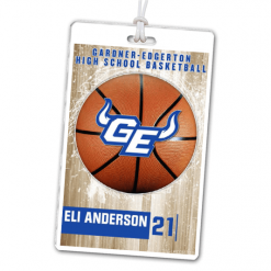 basketball high school photograph laminate rectangle sport bag tags luggage badges customized personalized number name
