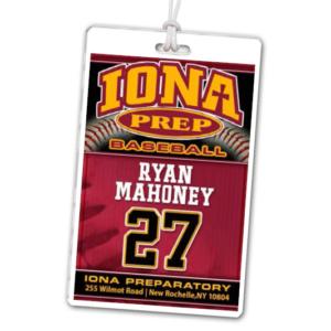 baseball photograph background laminate rectangle sport bag tags luggage badges customized personalized number name