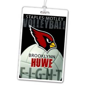 volleyball high school laminate rectangle sport bag tags luggage badges customized personalized number name